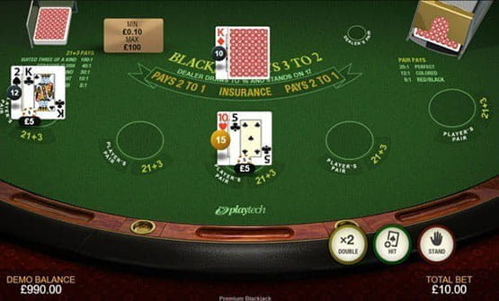 Playing a hand of the Premium Blackjack game by Playtech.