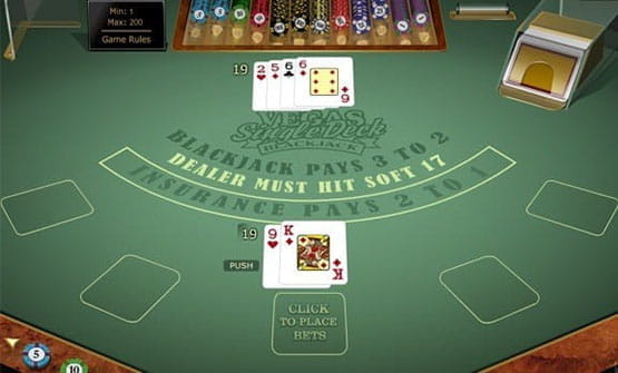 A hand of the Vegas Single Deck Blackjack game from Microgaming