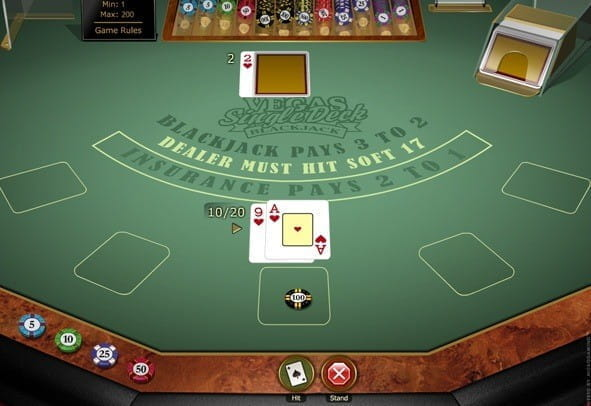 The Vegas Single Deck Blackjack game from Microgaming.