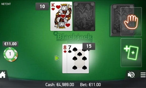 Playing a hand of the Single Deck Professional Series Blackjack game by NetEnt.
