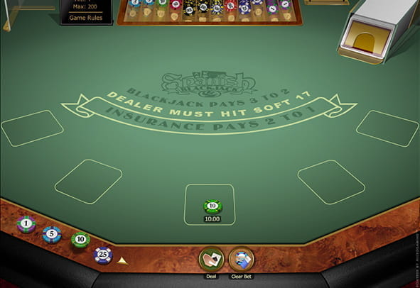 A demo game of Spanish Blackjack Gold.