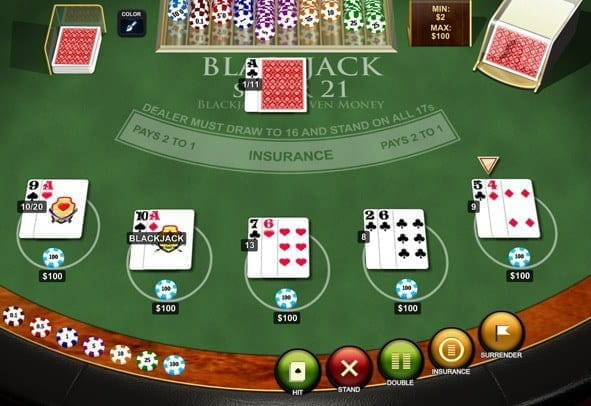 The Blackjack Super 21 game by Playtech.