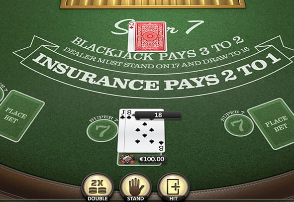 An in-game view of the Super 7 Blackjack game.