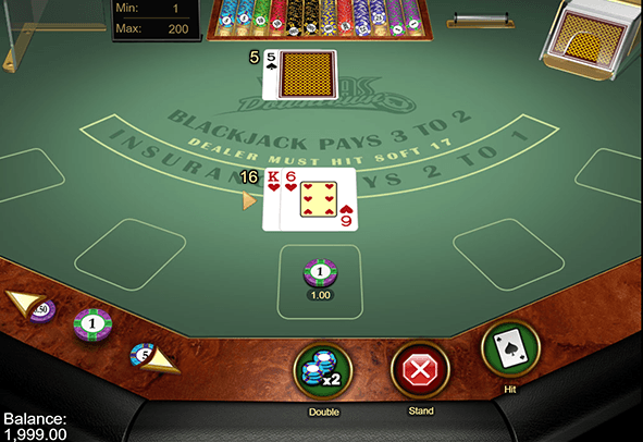 A look at the table of Blackjack Vegas Downtown online.