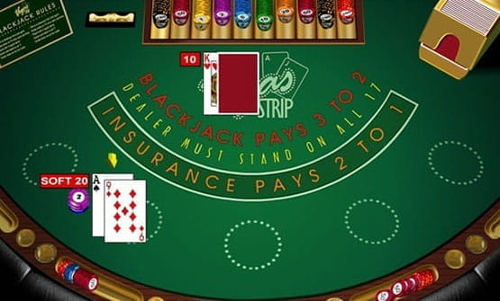 A hand of the Vegas Strip Blackjack game from Microgaming