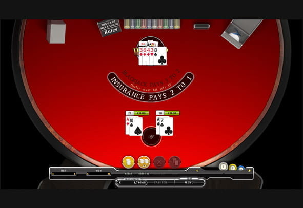 Vegas Strip Single Deck Blackjack gameplay.