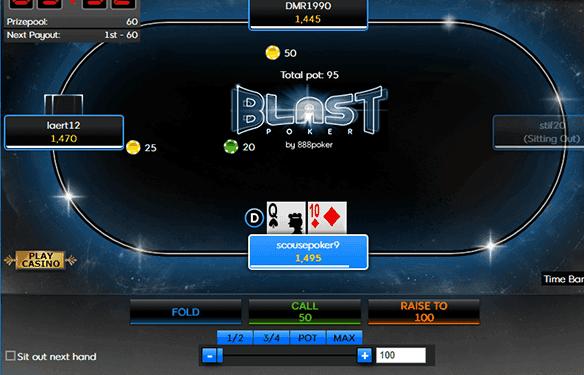Screenshot showing a Blast Poker online casino table