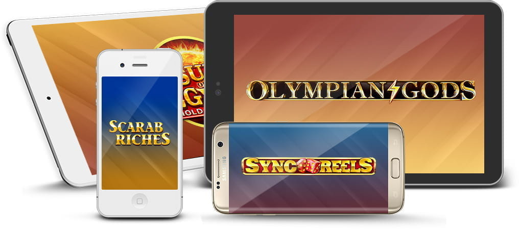 Booongo game logos on a variety of mobile devices.