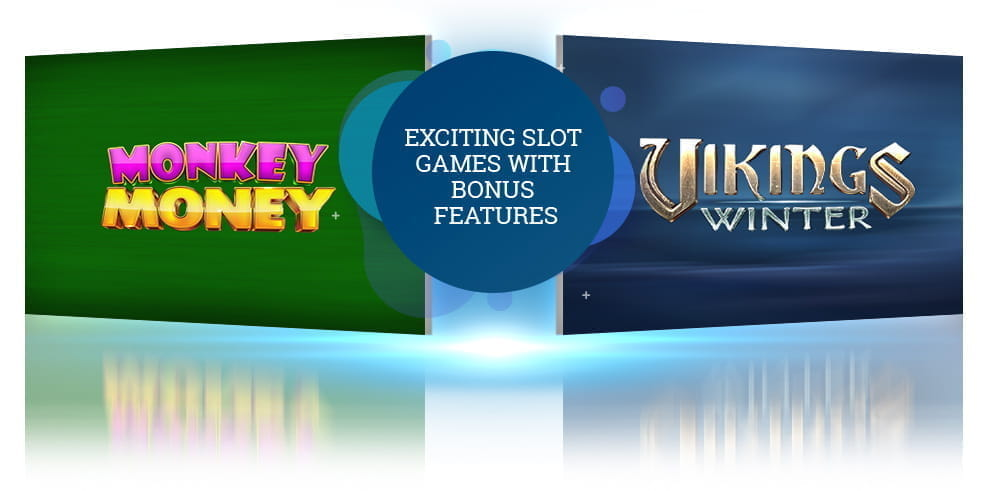 The Monkey Money and Vikings Winter slot game logos from Booongo.