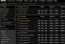 The sports selection on the bwin sports betting homepage.