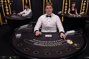 A game of live dealer blackjack at bwin casino