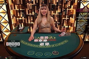 A game of live dealer casino poker at bwin casino