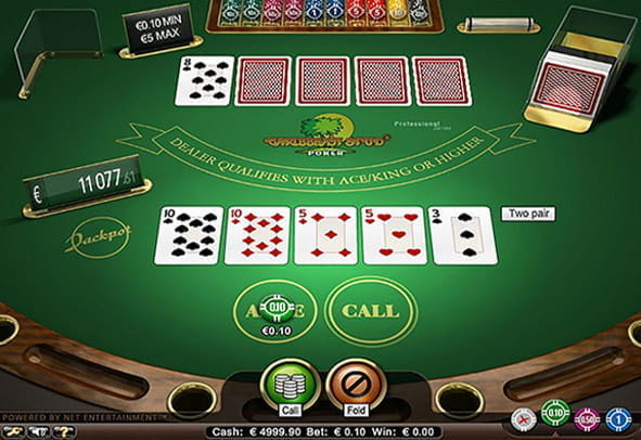 A winning hand in the Caribbean Stud casino poker game.