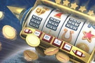 Picture of a slot machine with coins flying out of it