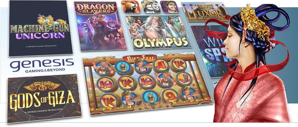 Image showing Genesis Gaming's various slot games.