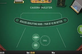 An image of the Casino Hold'em game on mobile
