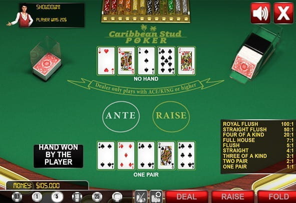 A preview image of a standard casino poker game