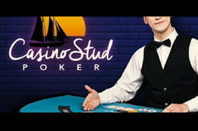 A dealer hosting Casino.com Stud Poker.