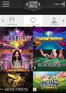The Casino Cruise games selection for mobile users.
