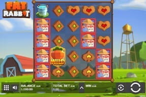 In-game view of the farm themed slot Fat Rabbit.