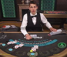 A Casumo live dealer at a game table.