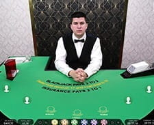 A screenshot of a live blackjack game