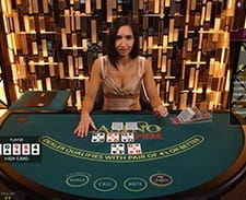 A screenshot of a live casino hold'em game
