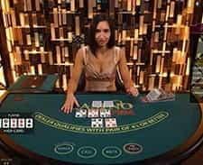 A screenshot of a live casino hold'em game