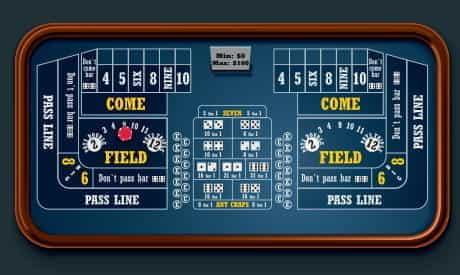 Un pari placé sur un pari de champ sur la table de craps.