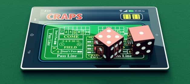 Un jeu de craps en ligne sur une tablette.