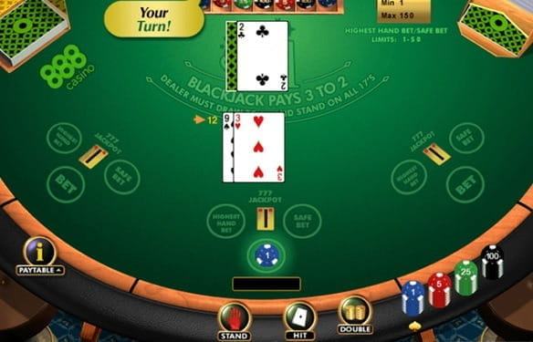 Cards are dealt on a green table for a player and a dealer in the Crazy Blackjack Game.