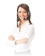 A customer service operator smiling at the camera.