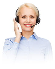 A smiling customer support representative.