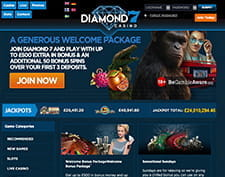 Details of the welcome package at Diamond7 online casino.