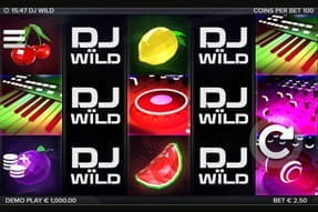 The music-themed reels of the DJ Wild slot game