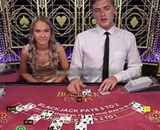 Two live dealers at Dunder Blackjack Party.