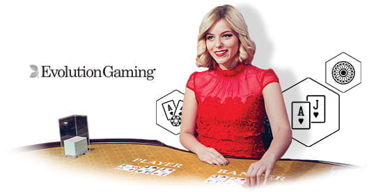 A live casino dealer from Evolution Gaming.