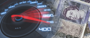 An image of a speedometer and cash, to show fast withdrawals at online casinos.