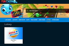 The lottery homepage at Fun Casino.