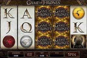 Image of the Game of Thrones video slot game on a mobile device.