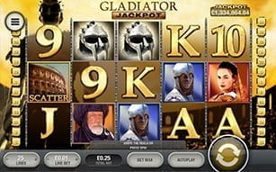 The Gladiator jackpot slot available on Betfair mobile.