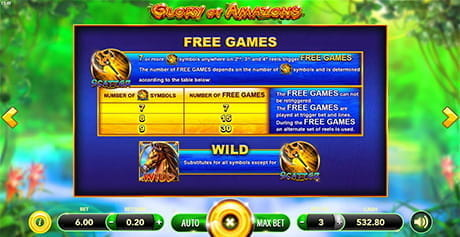 The Free Spins round in Glory of Amazons by SlotVision.