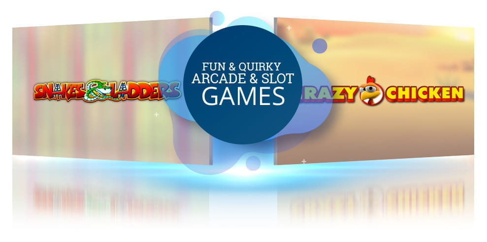 The Snakes and Ladders and Crazy Chicken casino games from Gluck, with the words 'Fun and Quirky Arcade and Slot Games from Gluck!'.