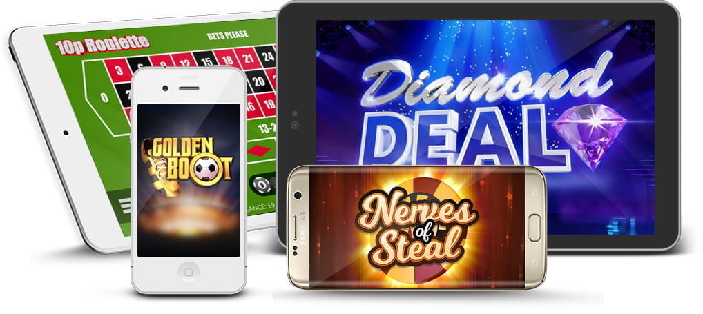 Gluck casino games being played on mobile and tablet devices.