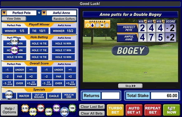 An example overview of various golf betting options