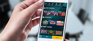 The Grosvenor mobile casino app on an iPhone.