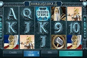 In-game action from the Thunderstruck II slot game.
