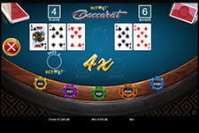Hit Me! Baccarat in-game play view