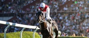 A jockey in white and red riding a horse