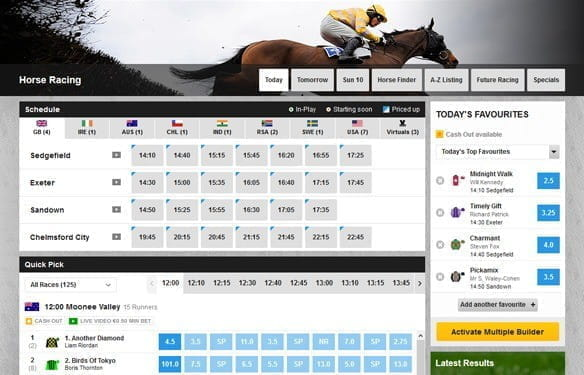 An example overview of horce racing betting options at an online bookmaker